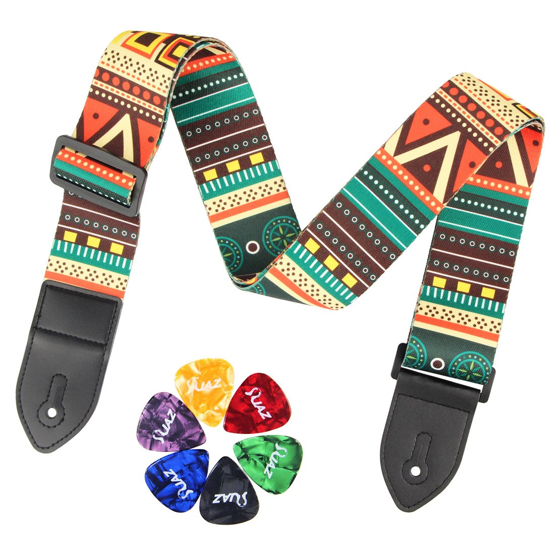 Guitar Strap Jacquard Weave Hootenanny Style, 2 Electric Guitar Strap Acoustic Strap Bass Strap with 6 Free Guitar Picks (Lightening Blue) Deedose guitar strap TH