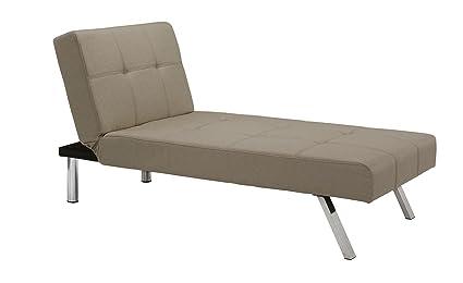 Novogratz 2102329 Mid-Century Modern Design Simon Chaise with Chrome Slanted Legs Tan