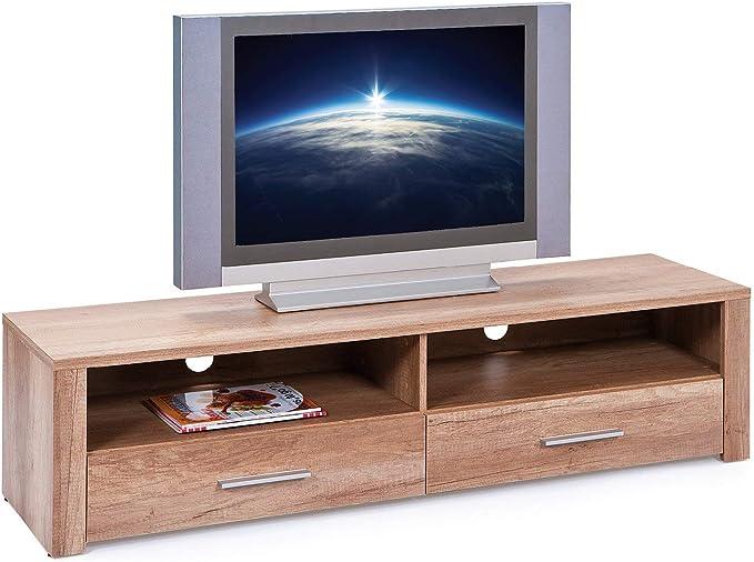 Links 19400100 Absoluto Meuble TV Panneaux//M/élamin/é Ch/êne Sonoma Blanc 150 x 40 x 37 cm