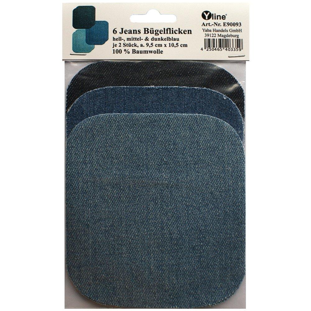 6tessuto jeans Toppe chiaro, Medio & Blu Scuro, jeansflicken buegelflicken, e90093