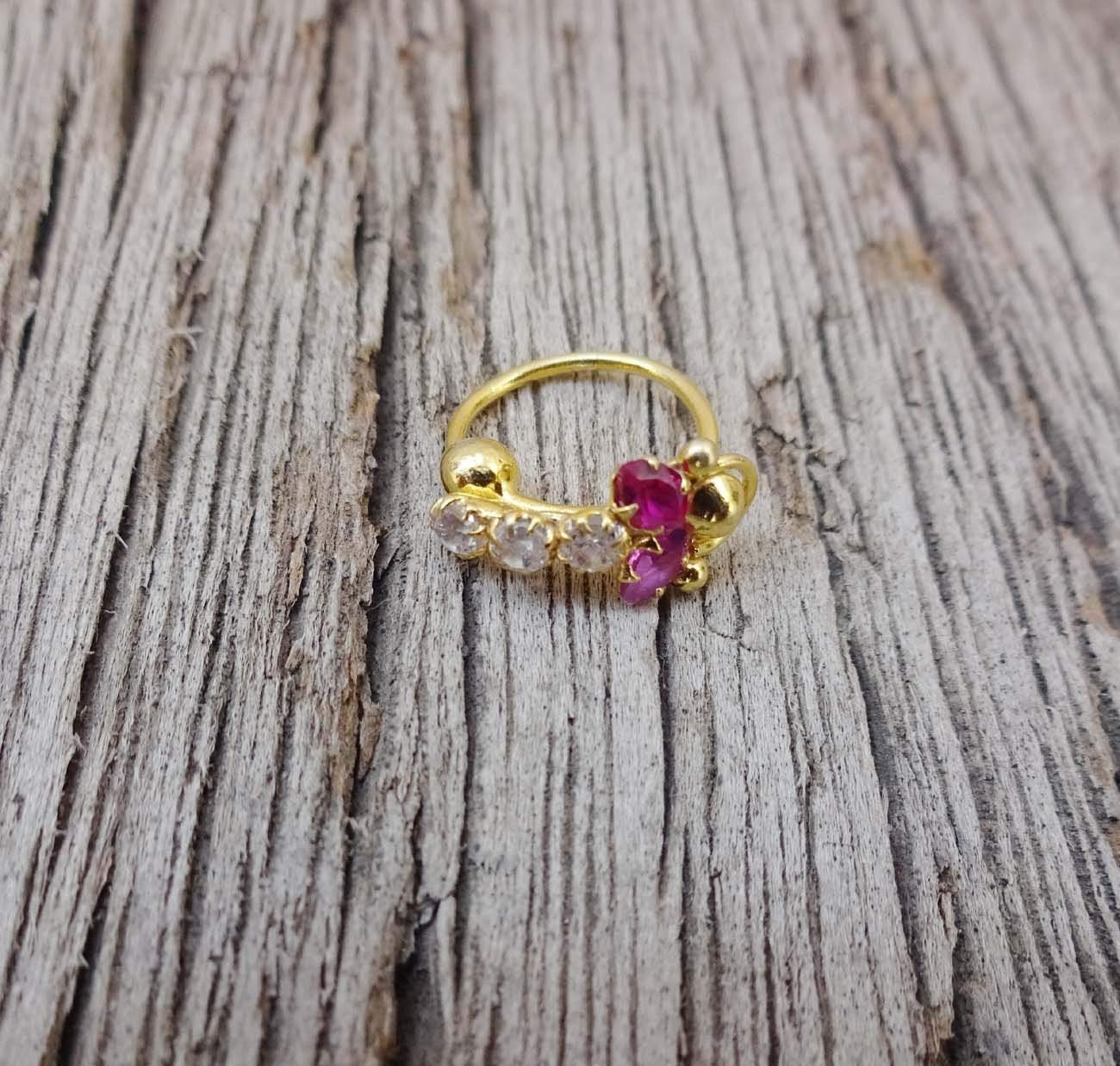 Gift For Her,Ruby Diamond Piercing,Crystal Nose Ring,Indian Gold Piercing,Gold Nose Hoop,Maharasthrian Nose Stud,Gold Nose Ring,Solid Gold Nose Ring,Indian Nose Jewelry,Silver Nose Ring TEJ596