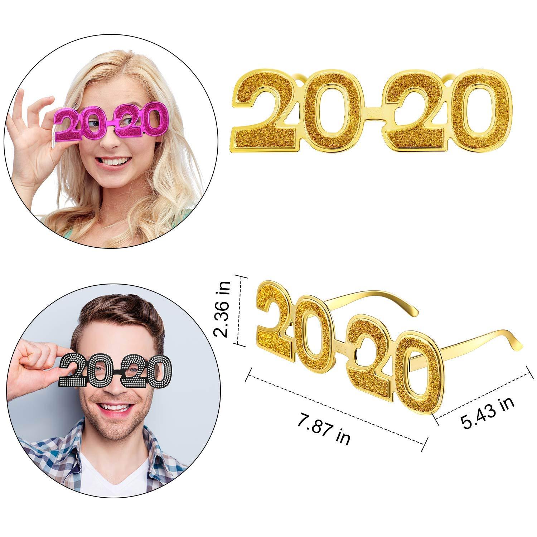 5 St/ücke 2020 Neujahr Party Brillen Frohes Neues Jahr Lustige Party Sonnenbrille f/ür Geburtstag Party Foto Requisiten Tanz Party Ankleiden 5 Farben