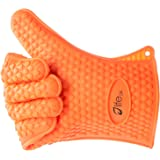 Life24 Premium Heat Resistant Oven Mitts Silicone BBQ Gloves For Barbecue Grilling Baking And Cooking