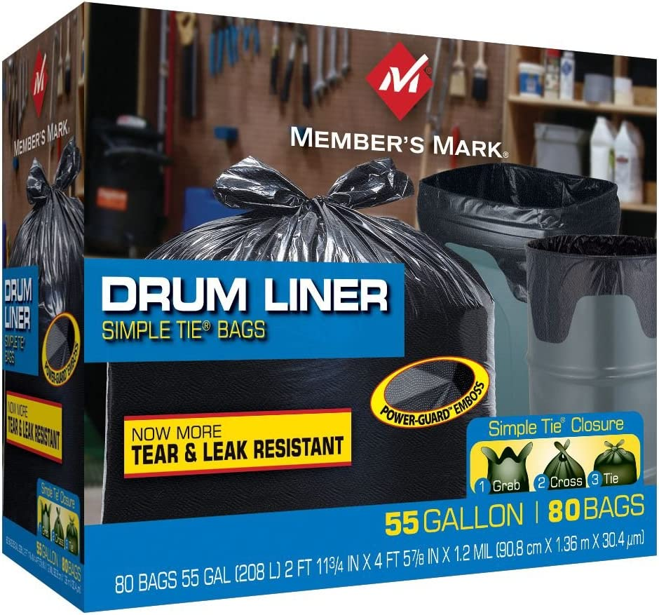 55 Gallon LDPE 1 Mil Medium Duty Black Drum Liner Trash Outdoor /& Yard Bags Ties