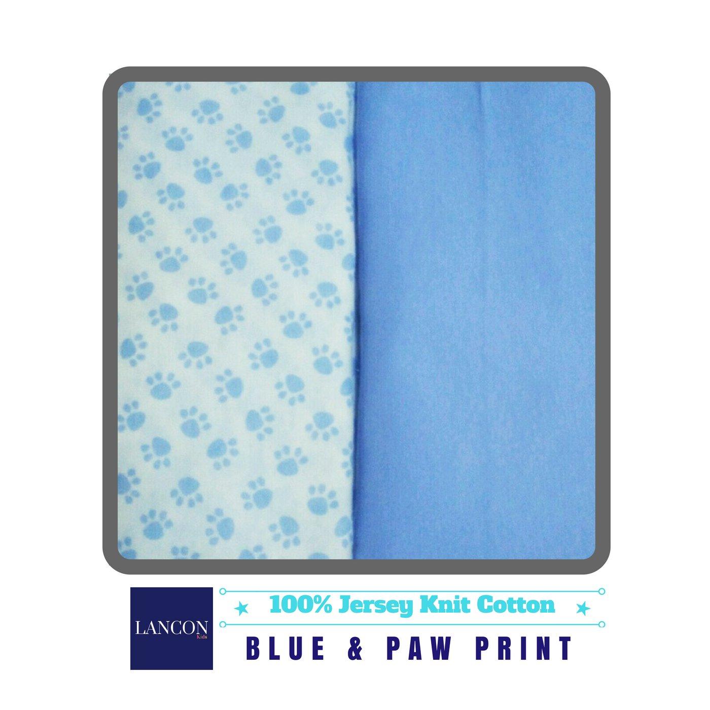 2 Pack 100/% Jersey Knit Cotton Blue /& Paw Print Bassinet Sheet Set by LANCON Kids