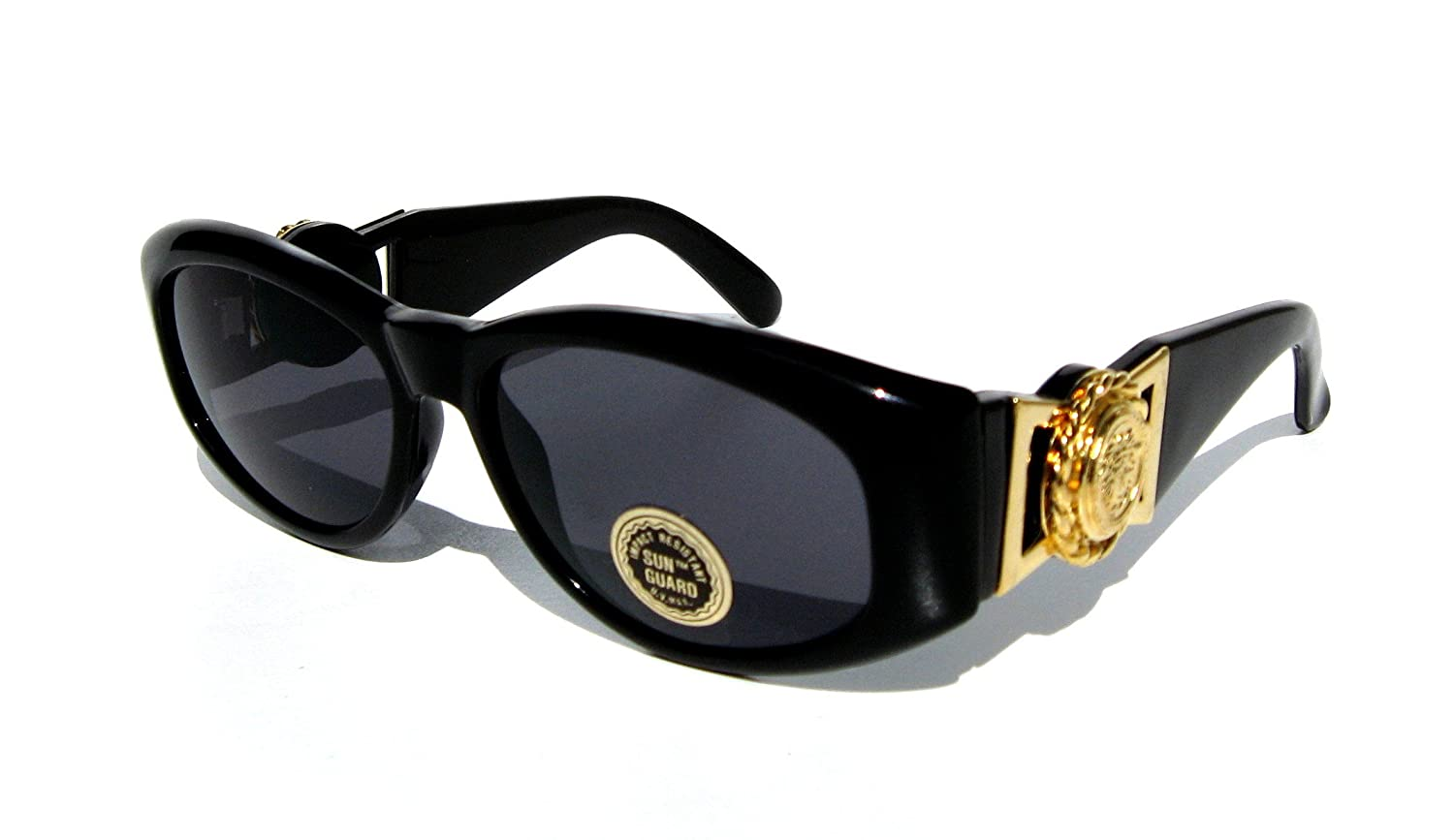 da411c26a667 Amazon.com  Black and Gold Medusa Lionhead Vintage Retro 90 s Hip Hop Rap  Oval Wayfarer Sunglasses   Mens and Womens (similar-looking to versace 413  as seen ...