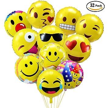 PovKeever Emoji Party Luftballons 18 Inch Folie Helium Ballons Für Happy  Birthday Hochzeiten Party Jubiläumsbedarf Dekorationen