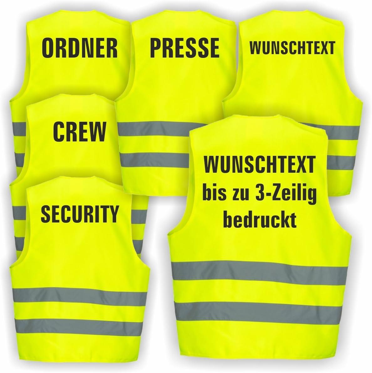 Ordner 1 Weste Warnweste GELB Sicherheitsweste Weste Ordner Security Crew