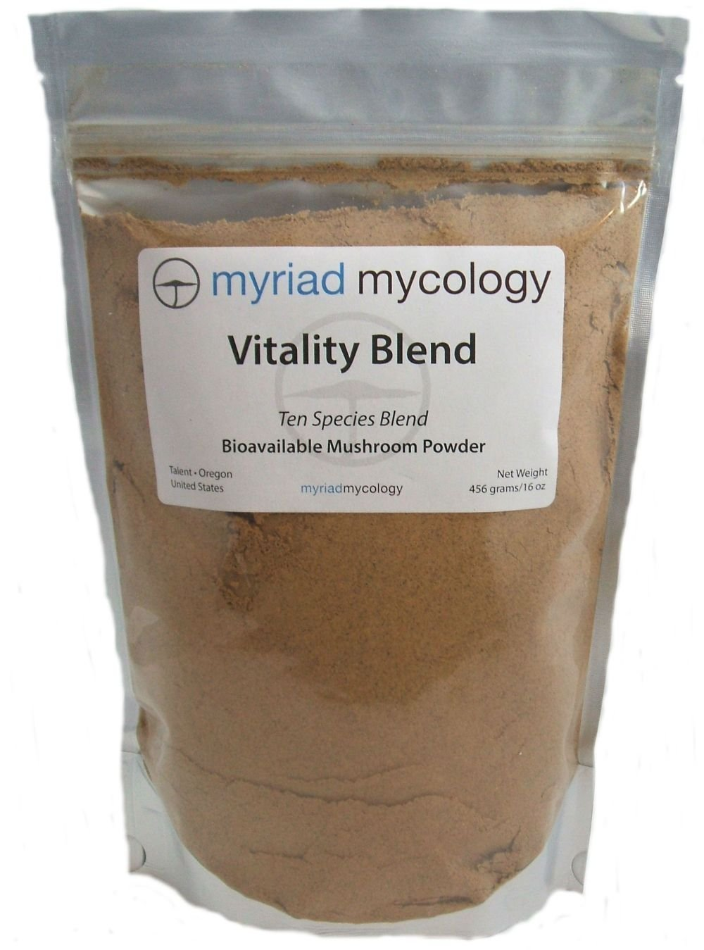 Myriad Mycology Vitality Blend - Mushroom Powder 1 Pound or 456 Grams  10 Medicinal Mushroom Powders.  Lion's Mane, Cordyceps, Turkey Tail, Reishi, Chaga, Maitake, Shiitake, Blazei, Agarikon, and Mesima Sang-Huang