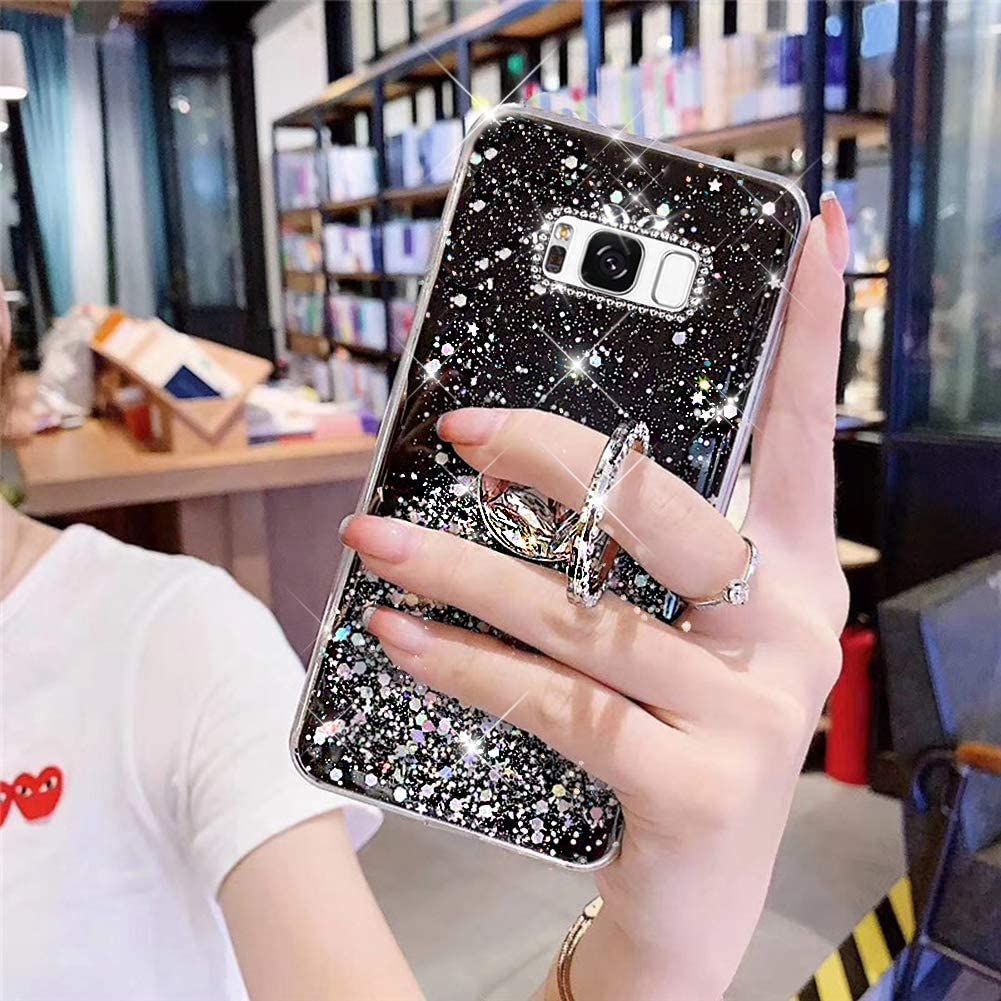 PHEZEN for Samsung Galaxy S8 Plus Case Bling Glitter Clear Sparkle Case for Women Girls,Shiny Star Slim Soft Silicone Gel TPU Rubber Bumper Phone Case Cover with Ring Holder for Samsung S8 Plus,Green