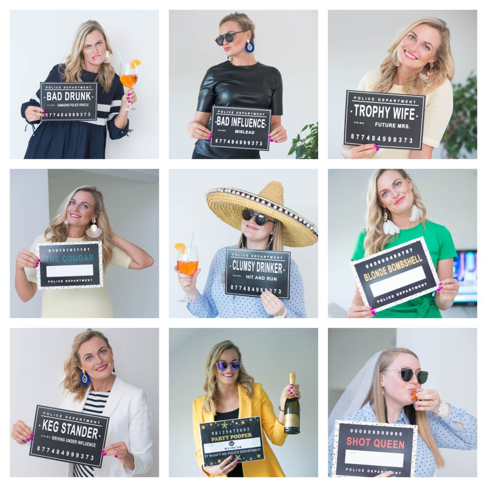 Hilarious Party Mugshot Signs by Weenca Girls Night Out or Birthday 40 Variations Looks Outstanding Paired with Photo Booth Props Great for Bachelorette Party 20 Reversible  Mugshot Signs