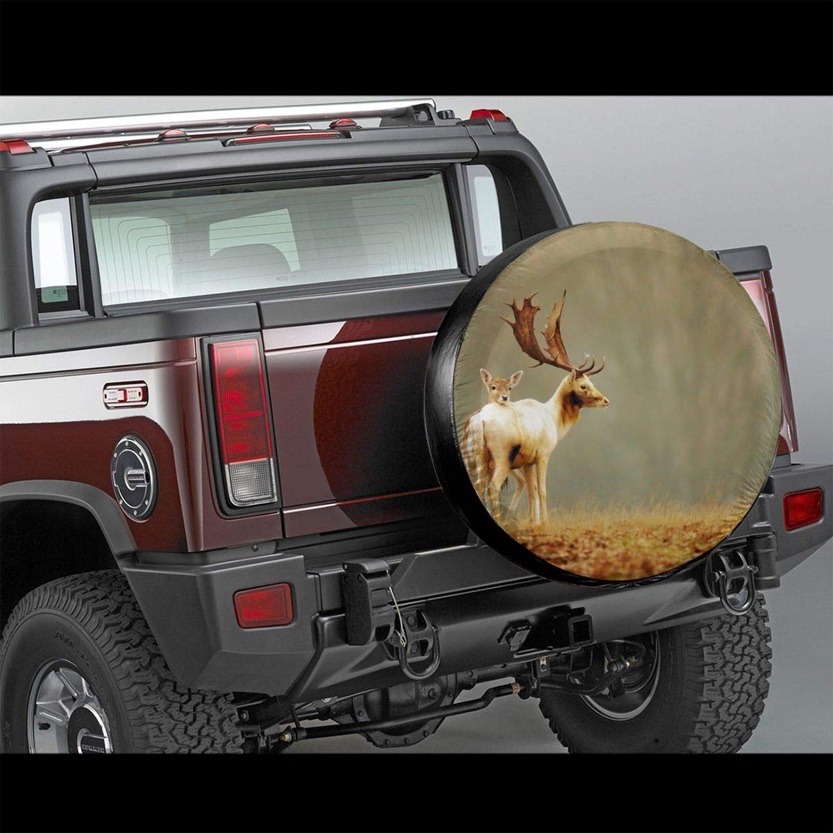 PecoStar Beautiful Deers Camping Potable Polyester Universal Spare Wheel Tire Cover Wheel Covers For Jeep Trailer RV SUV Truck Camper Travel Trailer Accessories
