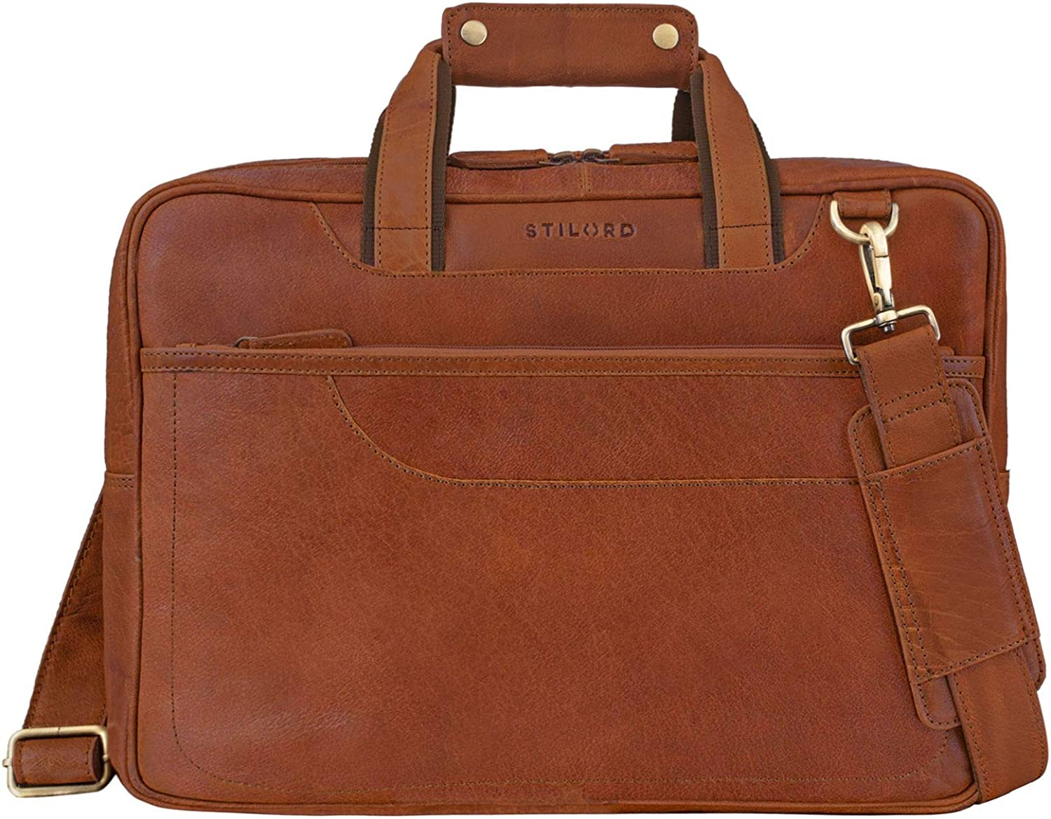 Marron STILORD Astor Sac de Professeur Cuir Serviette Homme Femme Mallette Porte-Documents Grand Sac /à Bandouli/ère Cuir V/éritable Couleur:Brasilia