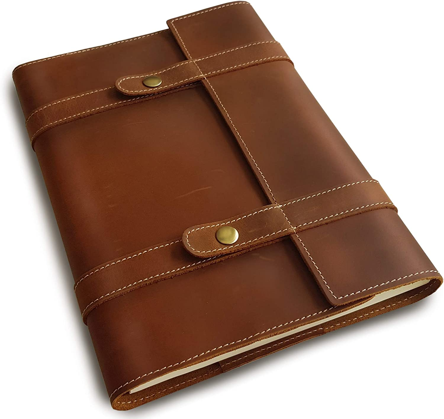 A4 Refillable Leather Journal - Professional Portfolio Planner Cover with 8x11 Business Notebook - Large Travelers Notebook Spiral - Lined 200 Pages - 8.27x11.69 Handmade Folder - By Le Vent