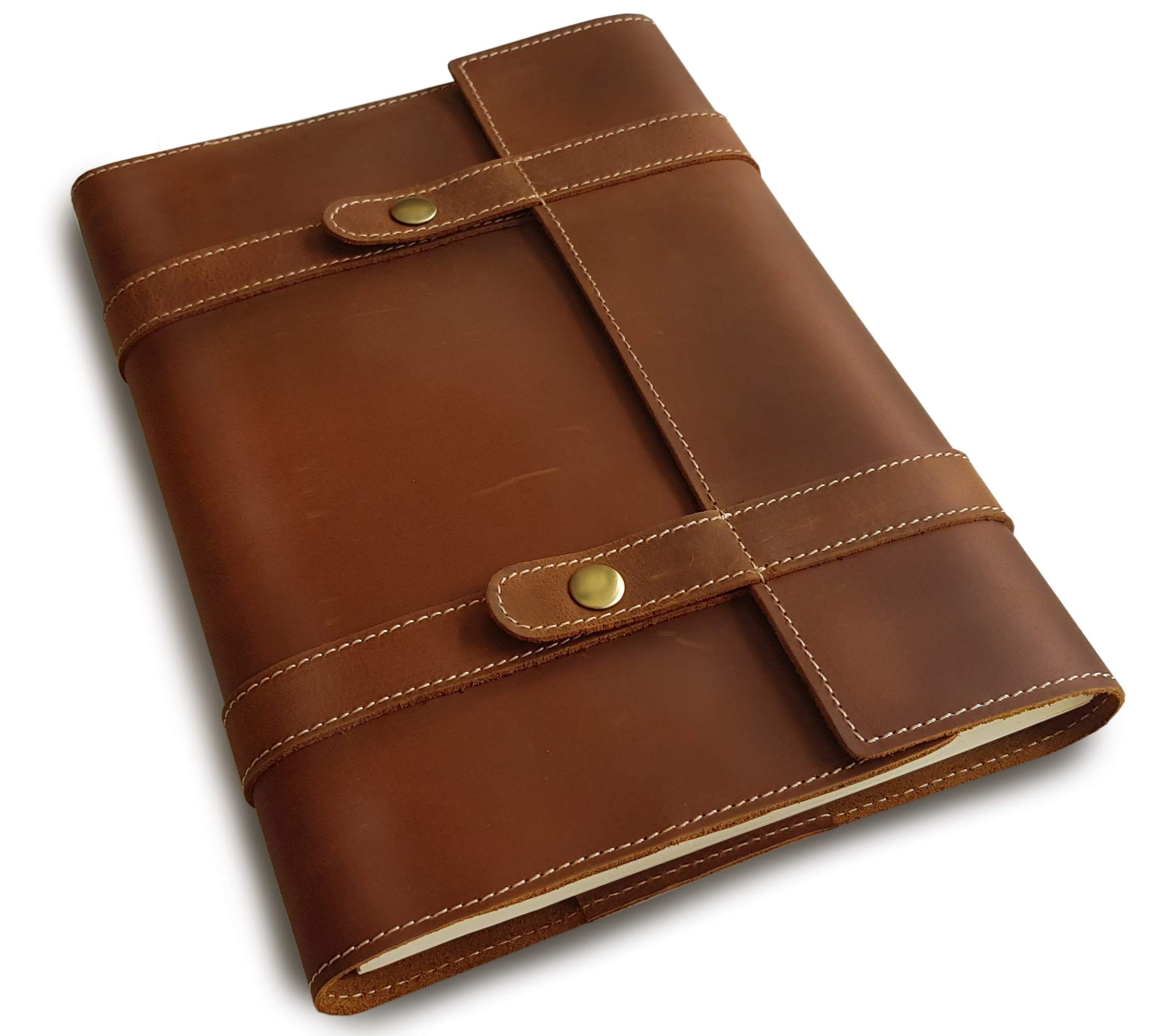 Le Vent Professional Portfolio, Genuine Handmade Leather, with A4 Spiral Lined (Ruled) Notebook 200 Pages, 8.27x11.69 Inches, Vintage Brown Refillable Journal by le vent
