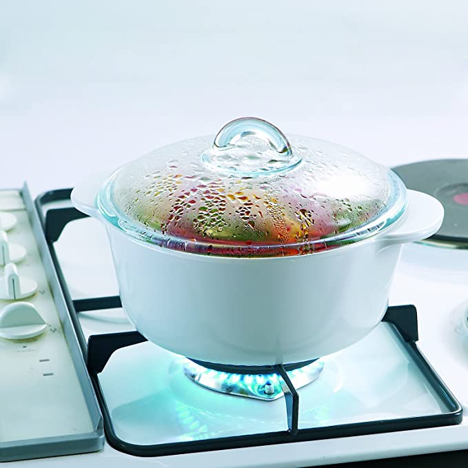 Pyrex Flame - Cacerola redonda, 1 l, vidrio cerámico, color blanco + tapa, transparente