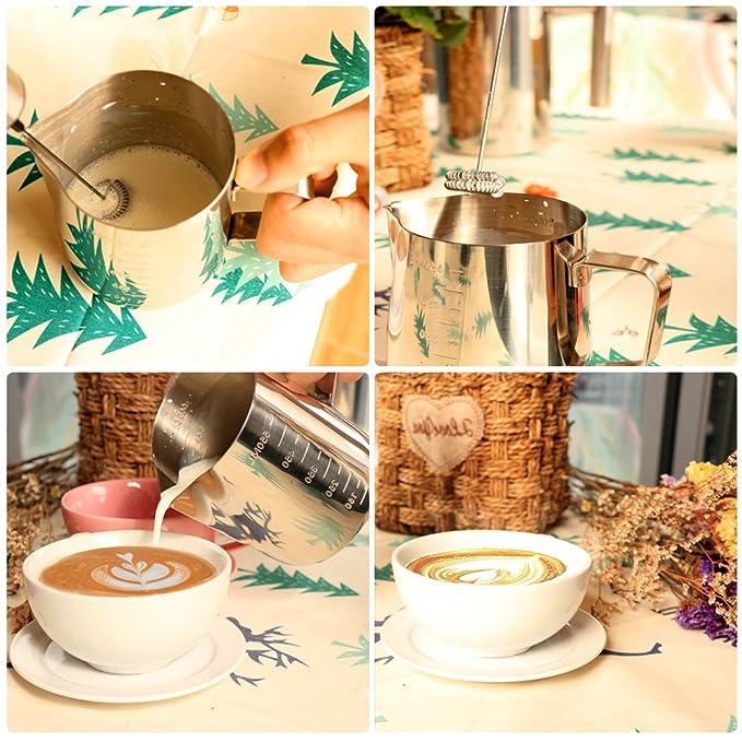 Espumador de leche electrico Batidor de Leche de Acero Inoxidable con dos cabezas de batidor y un soporte para batir la espuma de leche y crema de café: ...