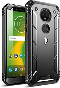Moto E5 Plus Rugged Case, Moto E5 Supra Rugged Case, Poetic Revolution [360 Degree Protection] Rugged Heavy Duty Case with Built-in-Screen Protector for Motorola Moto E5 Plus (Updated Version) Black