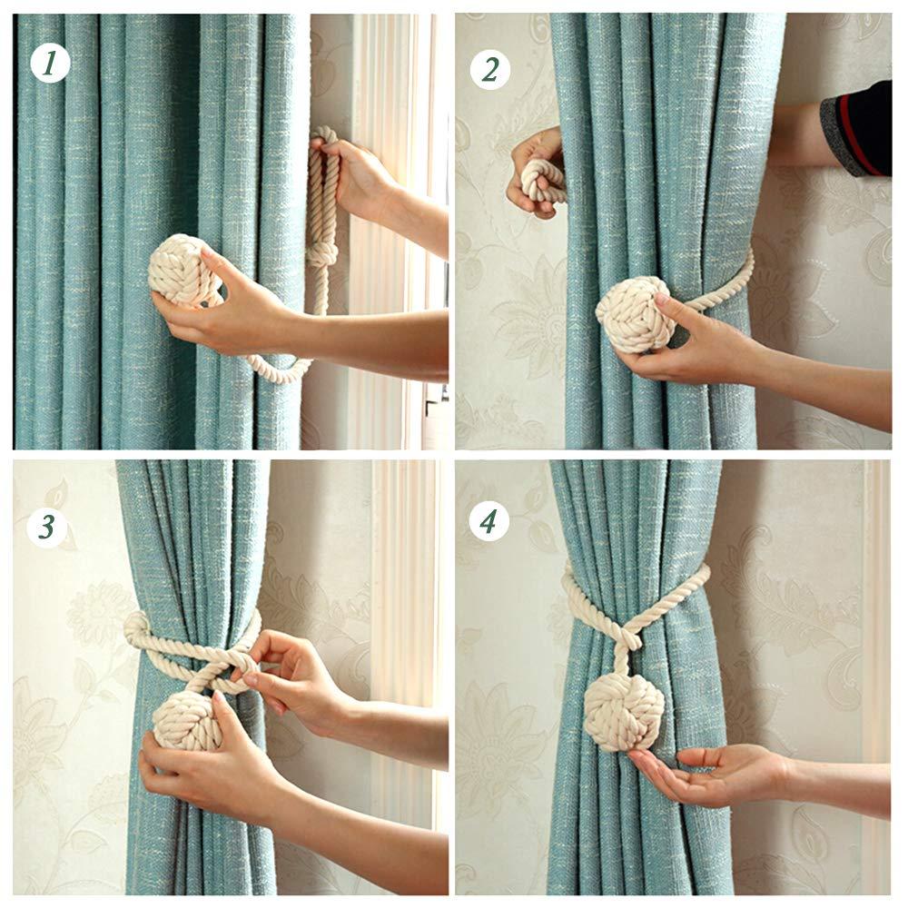 un par de Abrazaderas para Cortinas de Tejer a Mano BEE TWO Pinzas de Cuerda para Cortina Cortinas para Ventana con una Sola Bola