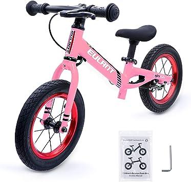 EULANT Bicicleta Sin Pedales para Niños de 2-6 años, Bicicleta de Equilibrio, 12 Pulgadas Neumático, Marco de Aluminio con Freno, Manillar y Asiento Ajustable, Niños, Rosa: Amazon.es: Juguetes y juegos