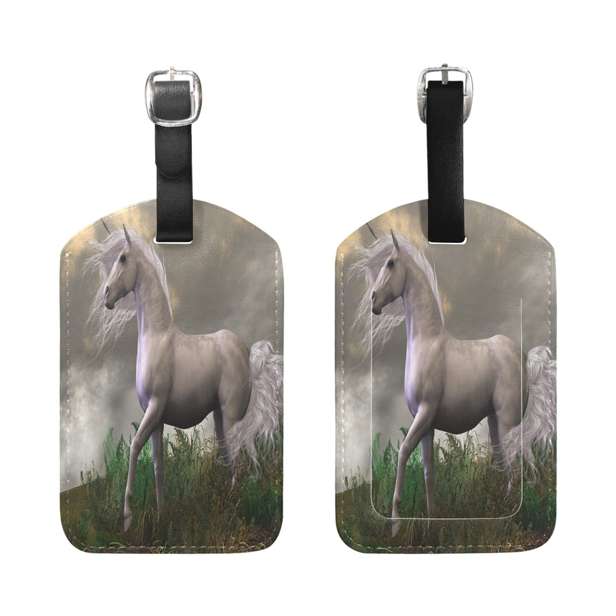 1Pcs Saobao Travel Luggage Tag White Unicorn PU Leather Baggage Suitcase Travel ID Bag Tag