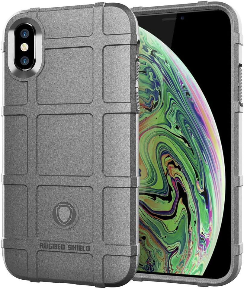 iPhone Xs MAX case, LABILUS (Rugged Shield Series) TPU Thick Solid Rough Armor Tactical Protective Cover Case for iPhone Xs MAX (6.5 inch) - Concrete Grey
