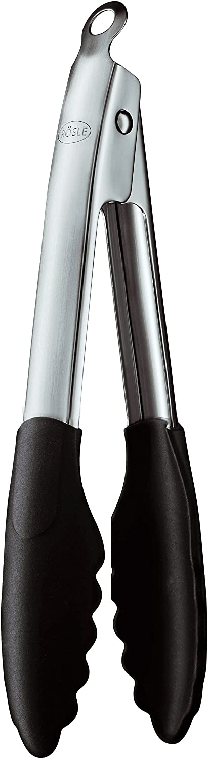 Rösle Stainless Steel Silicone Coated Locking Tongs, 9-inch