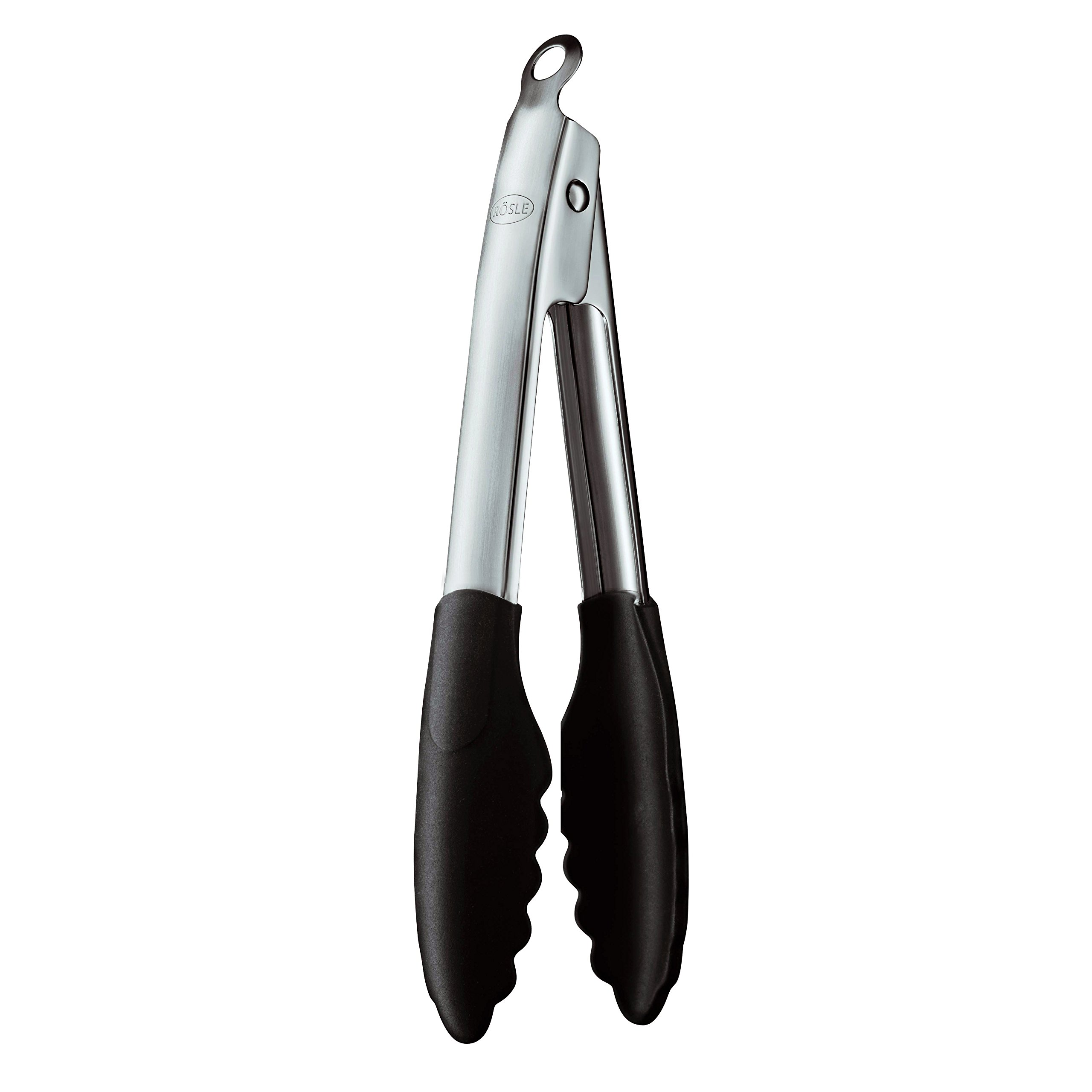 Rösle Stainless Steel 9-inch Silicone Coated Locking Tongs