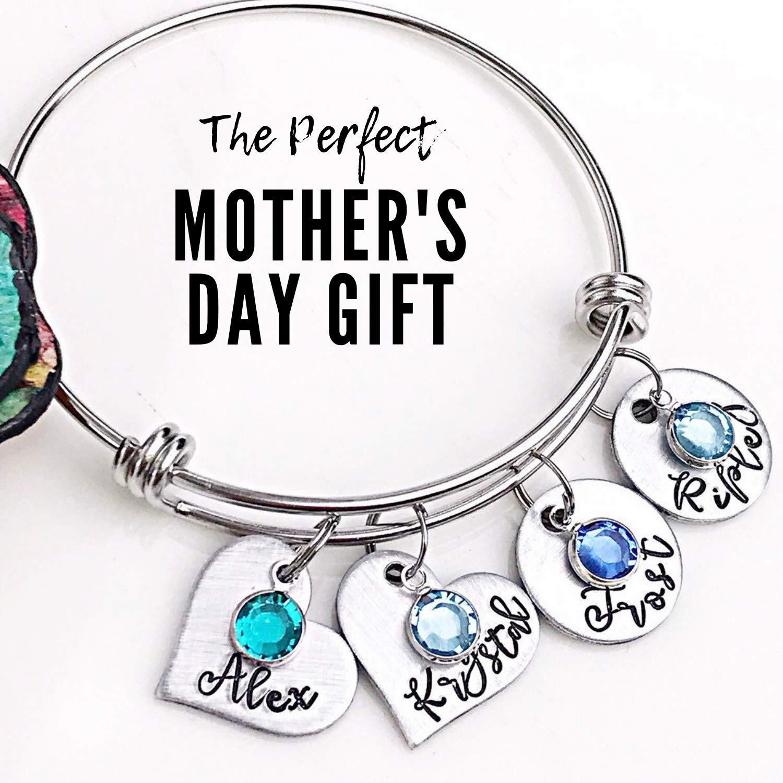 Personalized Bracelet Free Shipping to USA Sterling Silver Bracelet Mother/'s Day Gift Engraved Bangle Engraved Spring Bracelet