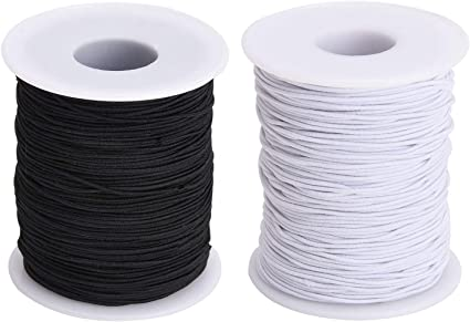 White Elastic Covered With White Rayon Darice White Elastic Cord Cut to Size 72 Yard Roll 2mm Size Perfect for Jewelry Making Great for Crafts Hair Ties and Home Uses