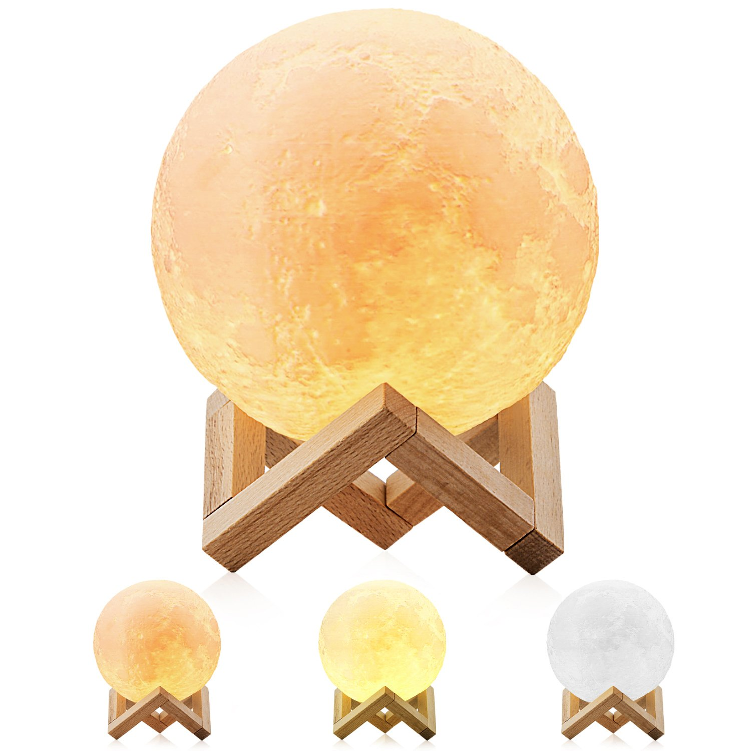 Magicfly Moon lamp 5.9 inch 3D Printing Dimmable with Tap Control, Rechargeable Lunar Home Decorative Night Light for Creative Gift
