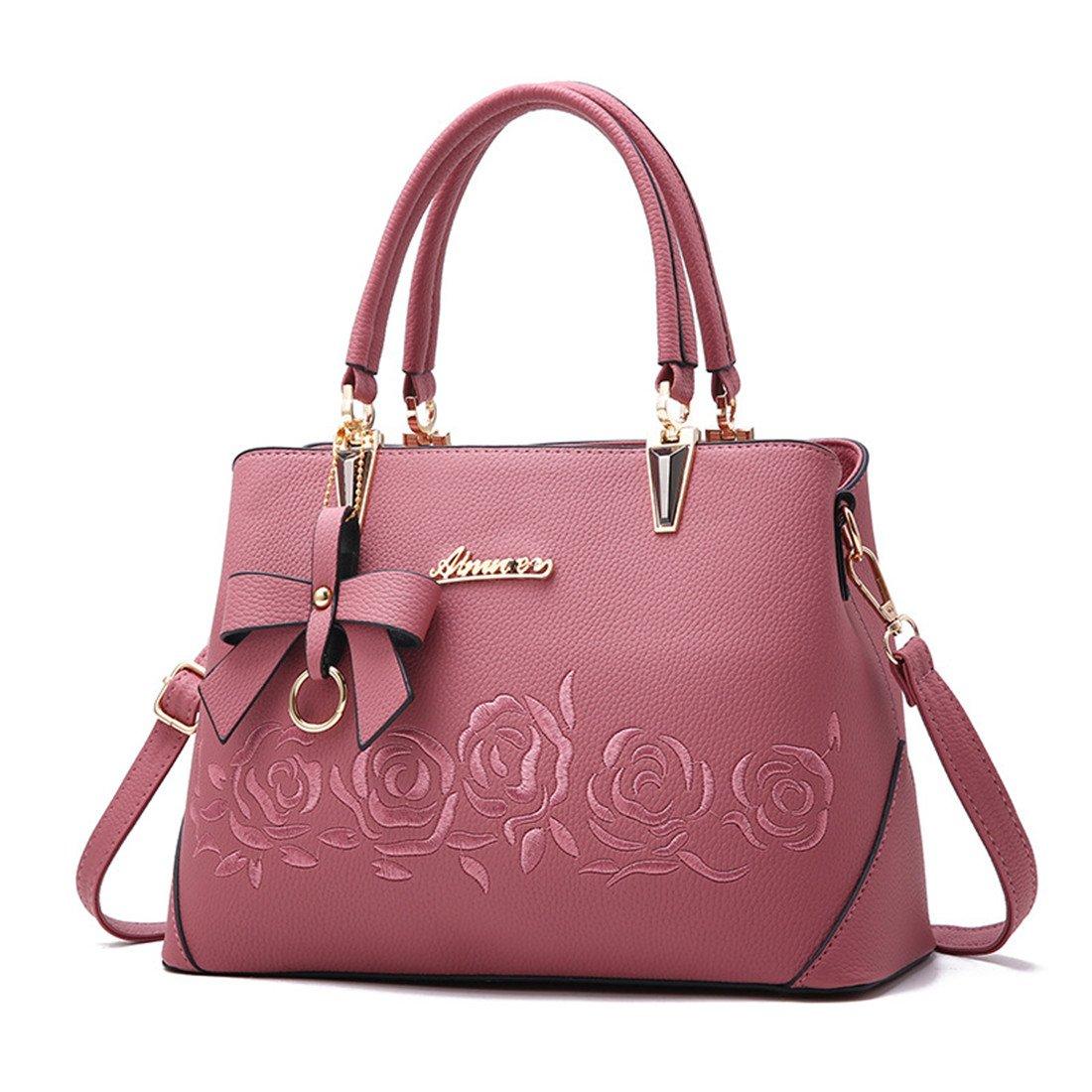 Mogor Women PU Leather Handbag Tote Shoulder Bag with Rose Embroidery Pink