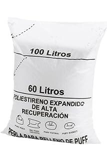 Textilhome - Relleno para Puff de Bolas (Perlas) 100 litros - Poliestireno de Alta