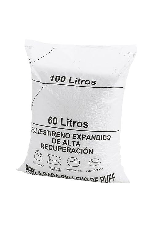 Textilhome - Relleno para Puff de Bolas (Perlas) 200 litros - Poliestireno de Alta recuperación y Gran Volumen.