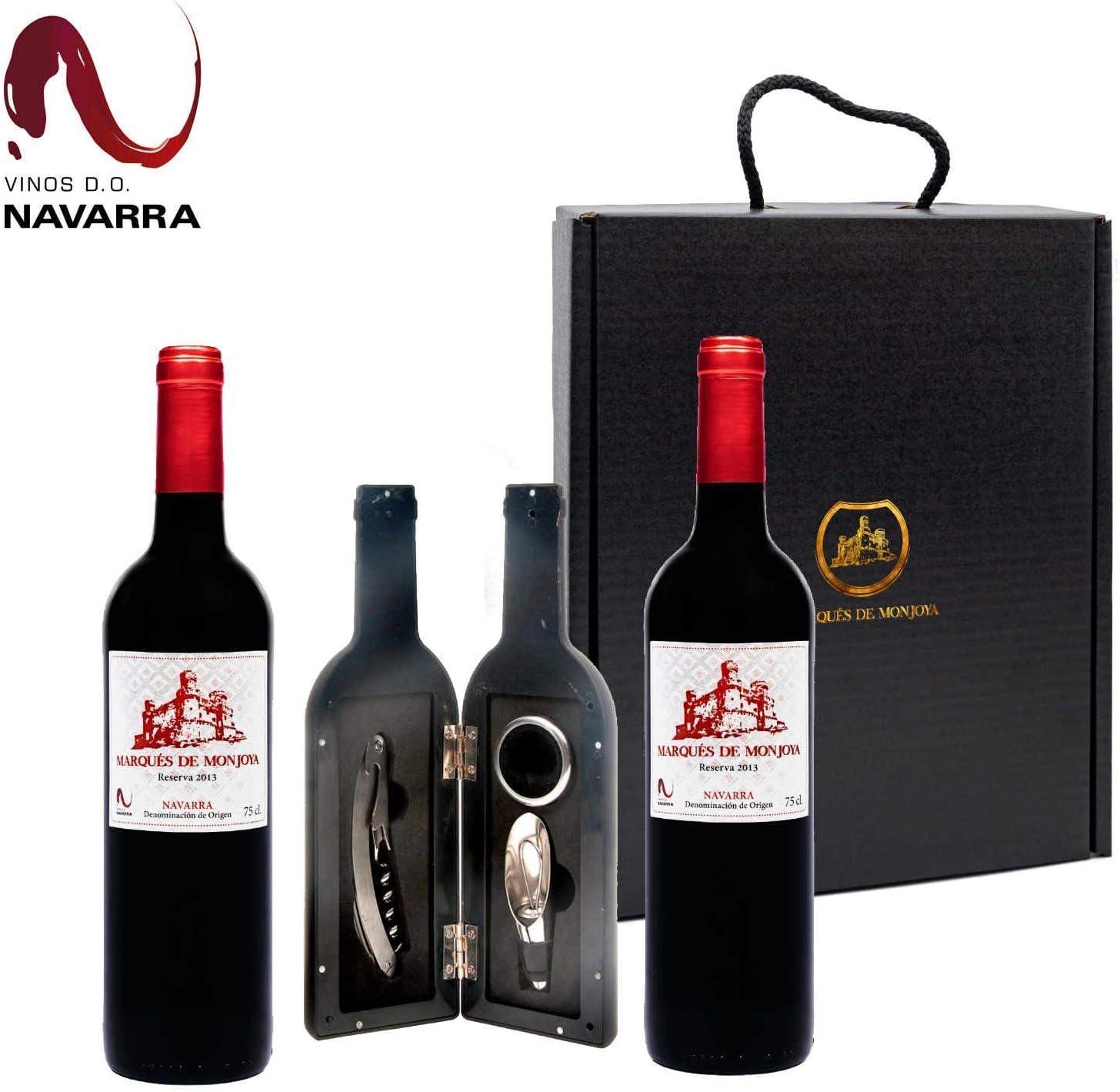 Caja Regalo Vino - Pack de 2 Botellas de Resevas + Kit Accesorios con Abrecorchos Aireador y Anillo Antigoteo con estuche - Regalo Original – D.Origen Olite Navarra añada del 2013 –