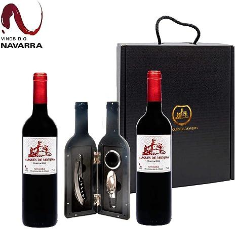 Caja Regalo Vino - Pack de 2 Botellas de Resevas + Kit Accesorios con Abrecorchos Aireador y