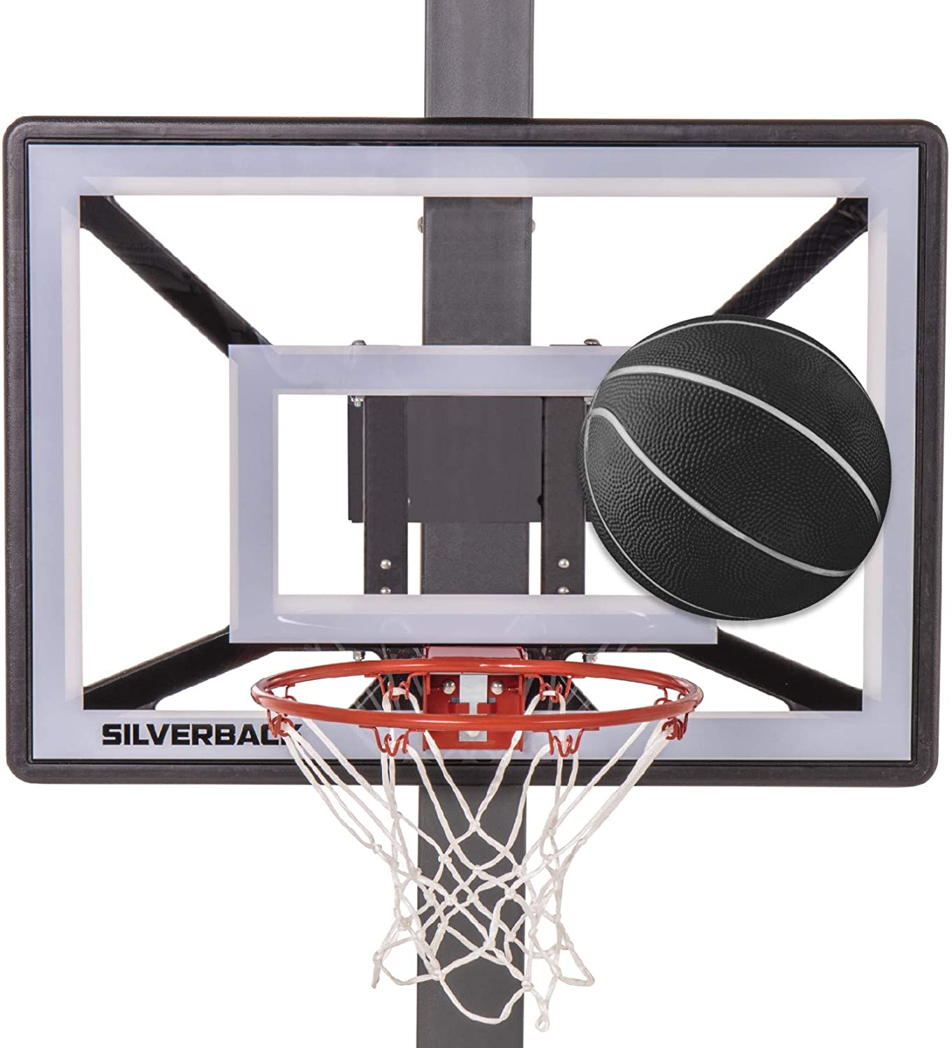 "Silverback Junior Youth 33"" Basketball Hoop with Lock 'n Rock Mounting Technology Mounts to Round and Vertical Poles, Black (B8410W) : Sports & Outdoors"