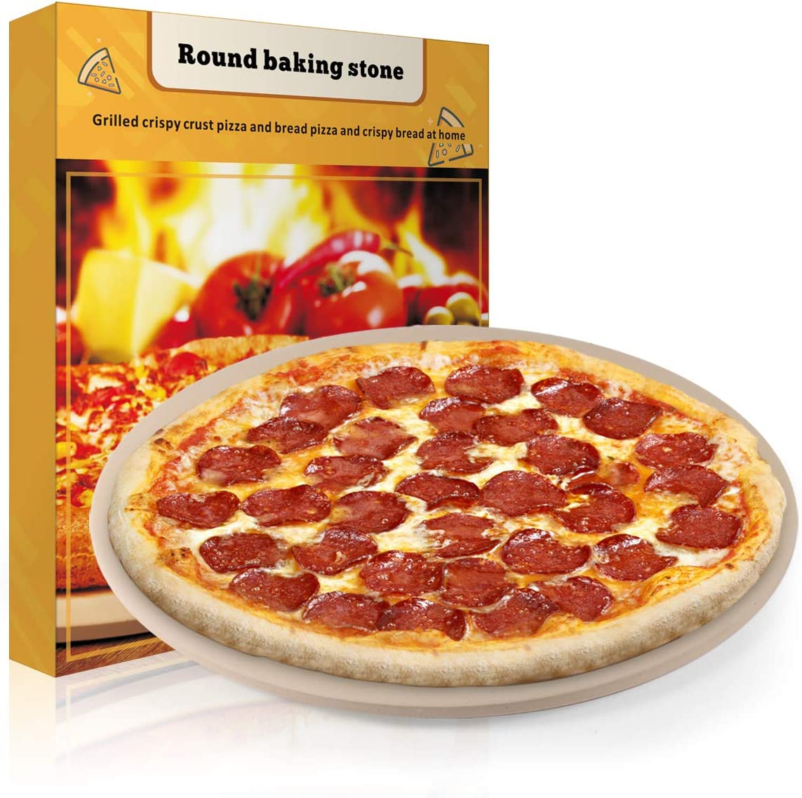 "Pizza Stone, 15"" Round Engineered Tuff Cordierite Durable Baking Stones for Ovens & Grill & BBQ, Stone Oven Round Pizza Stone"