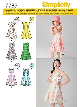 Simplicity Schnittmuster 7785. Hh Mädchen Kleid mit Hut: Amazon.de ...