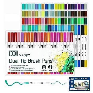 100 Pics Farben.Farbstifte 100 Farben Art Aquarell Pinselstifte Tipp Und Feine Spitze Für Erwachsene Malbücher Skizzieren Zeichnen Malen Kalligraphie Weißer