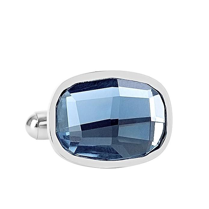 Lux & - Par de Gemelos de Cristal Elegantes de Acero Inoxidable ...