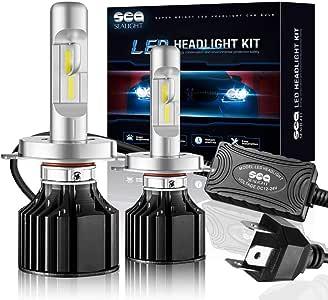 SEALIGHT H4/HB2/9003 LED Headlight Conversion Kit 100W 12000LM- 32x CSP LED Chips Cool White 6000K - Dual Hi/Lo Beam Bulbs