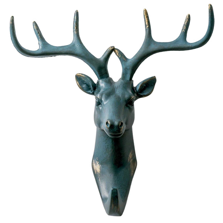 Herngee Gancio Muro Singolo Cervi/Gancio Animale Ganci Molto resistenti, Rustico, decorazioni da parete, colore Grigio