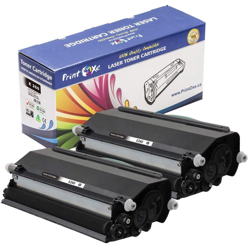 PrintOxe Compatible 2 Toners for E260 (E260A11A) Each E-260 Toner Yields 3,500 Pages for Lexmark E260, E260D, E260DN, E360, E360D, E360DN, E460, E460DN, E460DTN, E460DW, E462 & E462DTN PrintOxe: ISO 9001 ISO 14001 CE