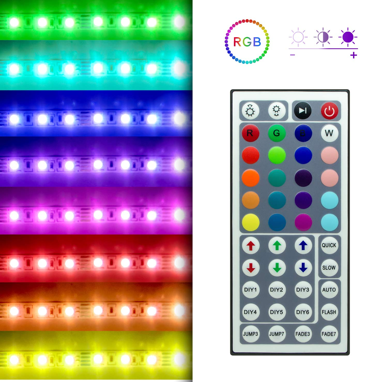 Hitlights High Density Rgb Led Light Strip Kit 164 Ul Listed Lights By The Foot 300 Leds Per Reel Feet Includes Power Supply And Controller 12v Dc Tape Musical
