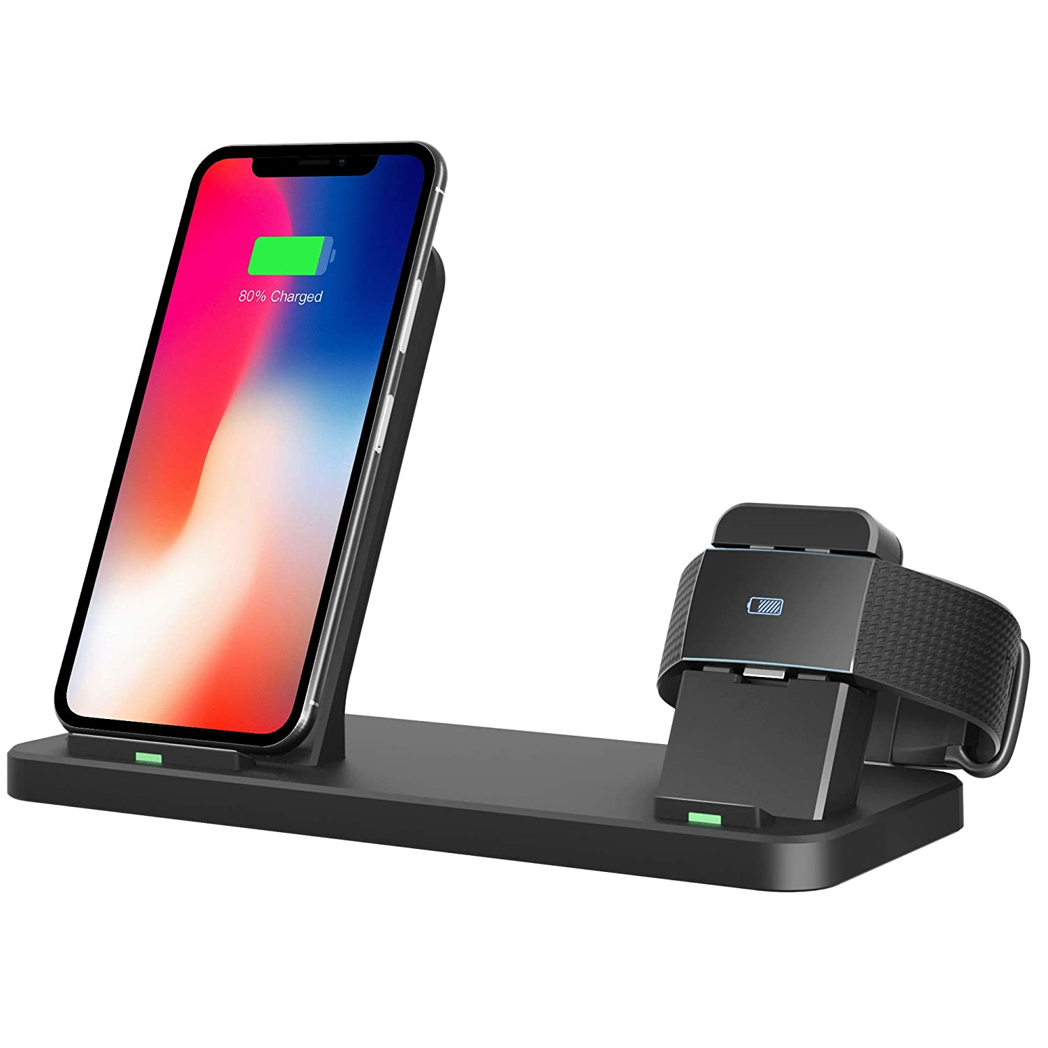 Tensea Compatible with Fitbit Charge 2 Charger, 2 in 1 Fast Qi Phone Wireless Charging Stand and Charging Dock Compatible for Fitbit Charge 2
