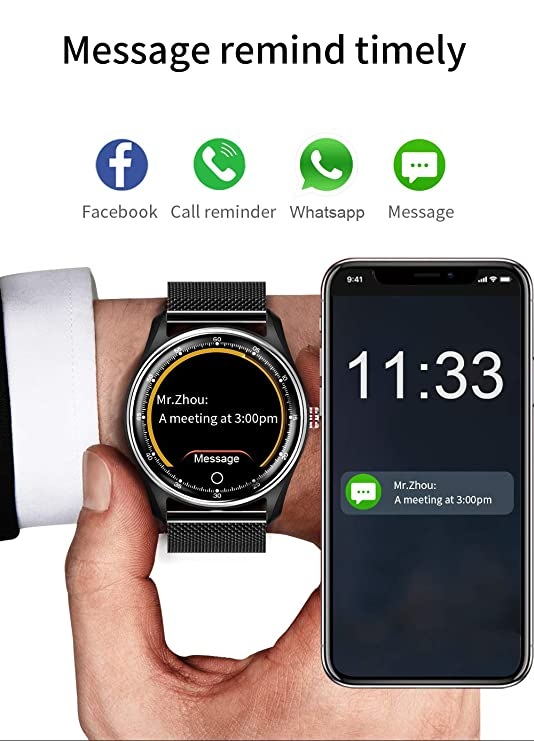 HAMSWAN MX9 ECG Smart Watch Blood Pressure PPG Heart Rate Blood Pressure Monitor Multi-Languages IP68 Waterproof Smartwatch Clock for Men ...