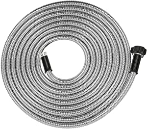 Yanwoo 304 Stainless Steel 12 Feet Garden Hose, Flexible Bathroom Hose, Portable Outdoor Hose (12ft)