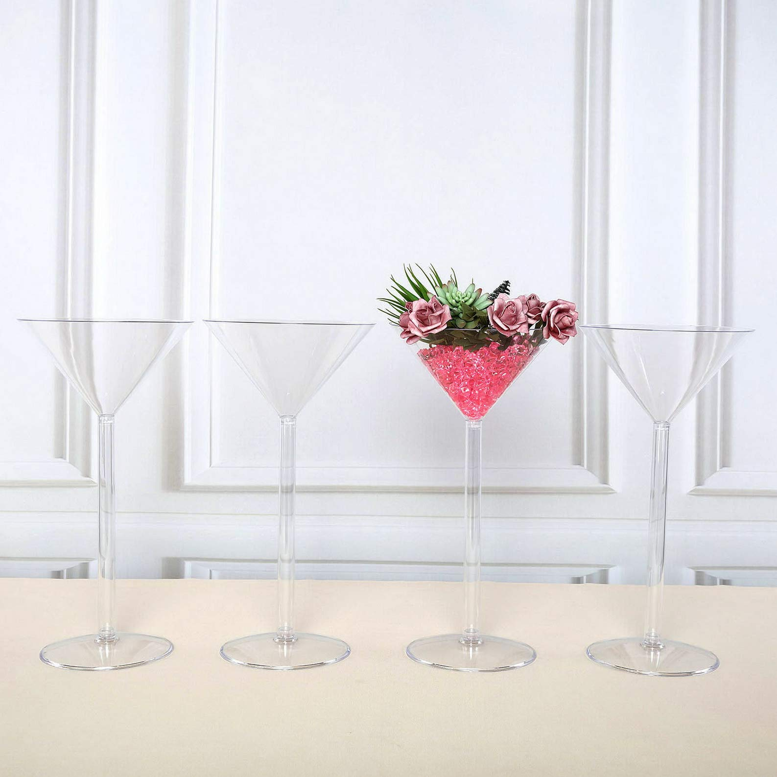Mikash Clear Plastic Martini VASES Cups 18 Tall Wedding Party Centerpieces Decorations | Model WDDNGDCRTN - 6404 | 4 pcs