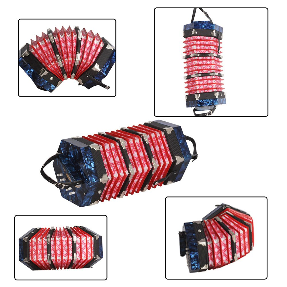 Walmeck Concertina Accordion 20-Button 40-Reed Anglo Style with Carrying Bag by Walmeck (Image #6)